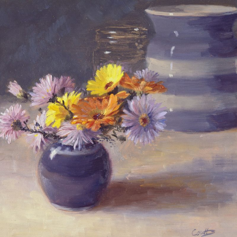 Flowers With Cornish Jar